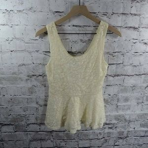 Paper Crane Ivory Lace Lined Peplum Sleeveless Top